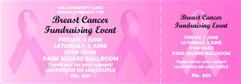 Pink Ribbon General Admission Ticket 001 Breast Cancer Raffle Ticket Template
