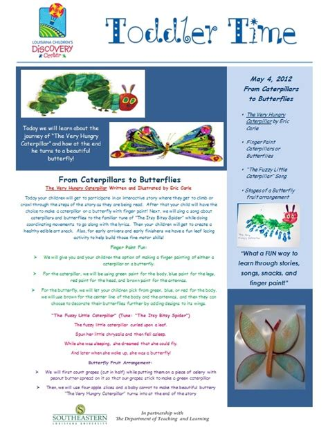 Toddler Time Newsletter For The Very Hungry Caterpillar Program Toddler Time Pinterest Early Childhood Newsletter Templates
