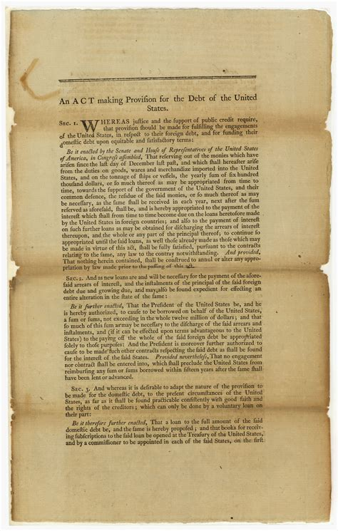 Carolina Records Act The Compromise Of 1790 Pieces Of History
