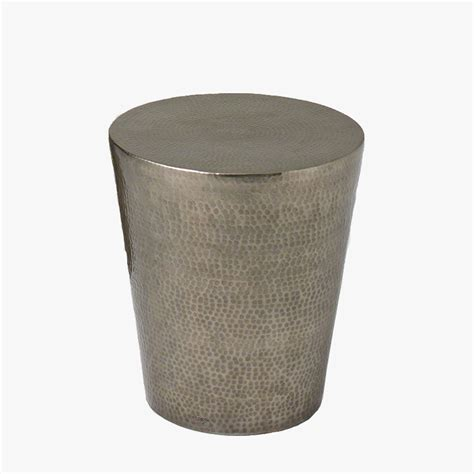 drum side table antique nickel hammered drum side table dear keaton