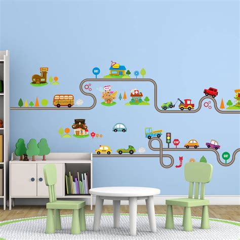 cartoon car bus highway track wall stickers  kids
