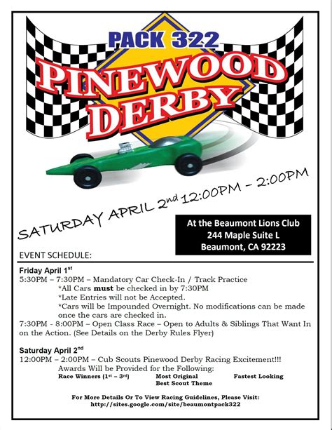 pinewood derby flyer template pinewood derby april 1 2 pack 322 beaumont ca