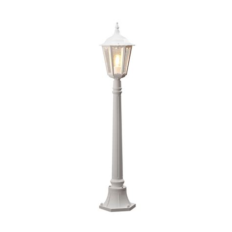 white outdoor l post kontsmide 7215 250 firenze matt white one light post l