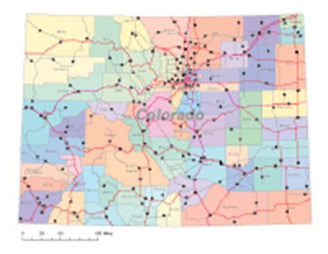 colorado county map with highways colorado digital vector maps editable