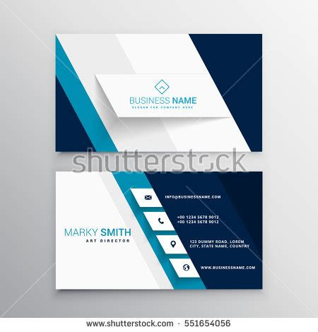 pale blue business card template free modern blue white business card template 库存矢量图 551654056