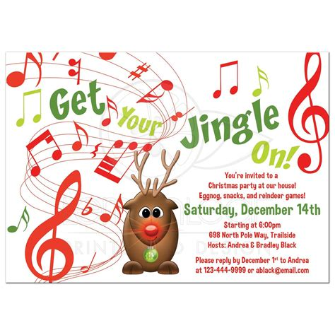 rudolph the red nosed reindeer christmas party invitation