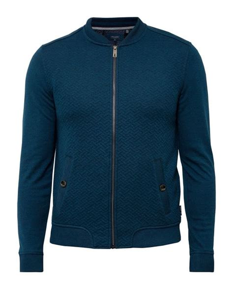 Ted Baker Quilted Jacket by Ted Baker Bruno Quilted Bomber Jacket In Blue For Lyst