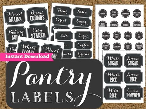 Kitchen Pantry Labels by Pantry Chalkboard Labels Printable Pantry And Spice Jar Labels 2 50 Via Etsy Home