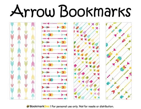 printable bookmarks pdf free printable arrow bookmarks download the pdf template