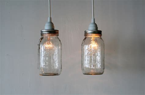 Pair Of Mason Jar Hanging Pendant Lights Upcycled Rustic Jar Pendant Lights