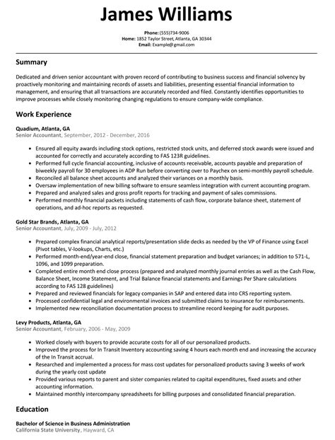 senior staff accountant sle templates resume templates marvelousancial accountant sle