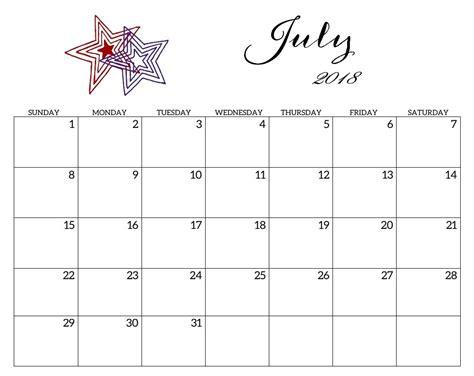 Printable Calendar For July 2018