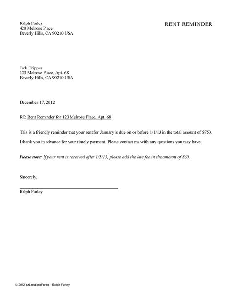 Rent Payment Reminder Letter Template rent reminder ez landlord forms