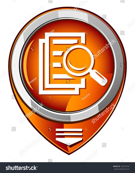 Pointer Lookup Magnifying Glass Orange Pointer Search Stock Vector 182237243