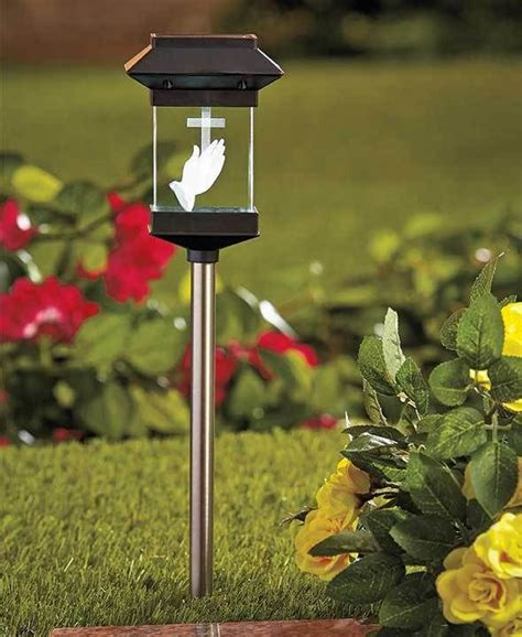 Solar Crystal Memorial Stake Cross Garden Cemetery Grave Memorial Solar Lights
