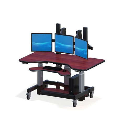 standing desk adjustable height height adjustable standing desk with three monitor mounts