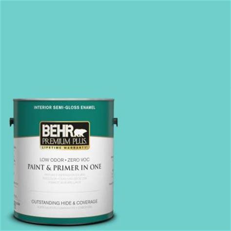 behr premium plus 1 gal p450 4 sea glass semi gloss enamel interior paint 340001 the