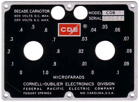 cornell dubilier decade capacitor cornell dubilier electric seattle manufacturer in usa mod