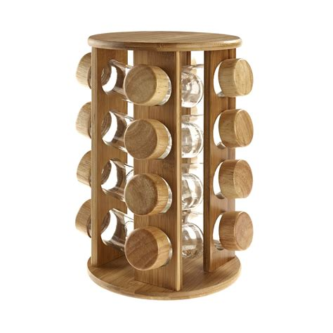 Wooden Spice Holder Wooden Rotating Revolving Bamboo Spice Rack Glass Jars