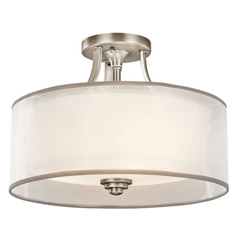 kichler 42386ap antique pewter 3 light semi flush