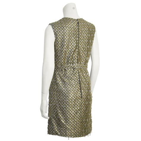 1960 s gold and silver beaded mini dress with belt for