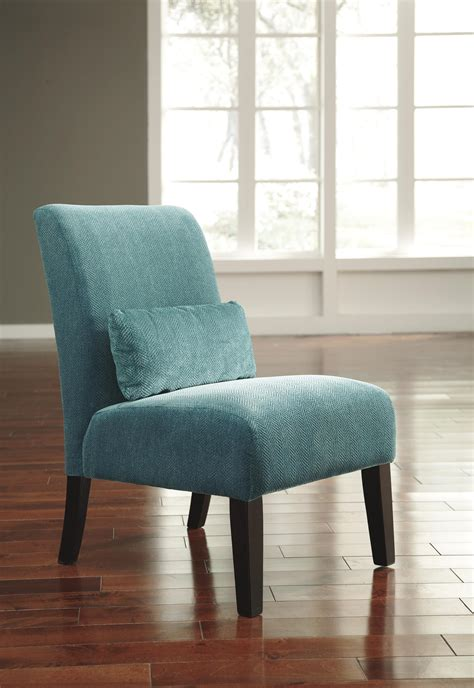 Teal Living Room Chair Signature Design By Annora Teal 6160460 Contemporary Armless Accent Chair With Pillow