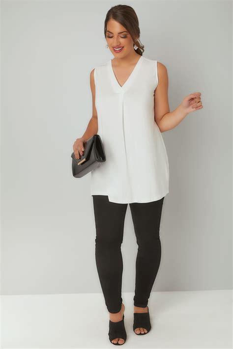 Merlyn Hem ivory sleeveless v neck jersey top plus size 16 to 36