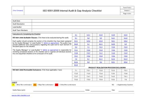 iso 9001 checklist template iso9001checklist pdfsr