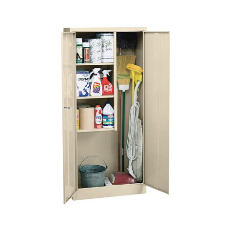 Janitorial Storage Cabinet Sandusky Welded Steel Janitorial Cabinet 30in W X 15in D X 66in H Putty Model
