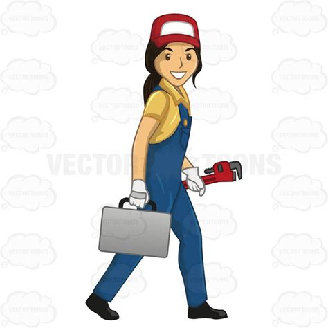 commercial woman plumber cartoon clipart female plumber walking while carrying