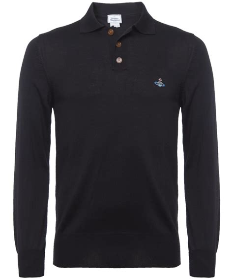 Polo Shanghai Black vivienne westwood sleeve knitted polo shirt available at jules b