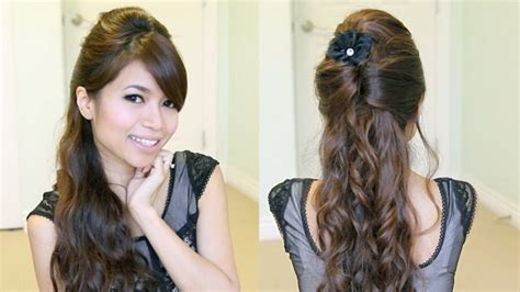neat half up half down hairstyles half up half down curly hairstyles for medium length hair