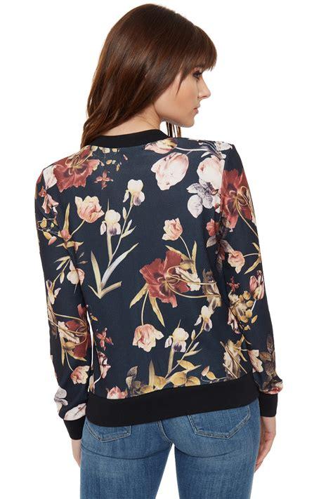 Floral Jacket womens floral zip bomber jacket crepe sleeve zip crew