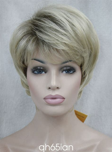 short blonde wigs for women ladies wig straight women short natural hair cosplay wigs