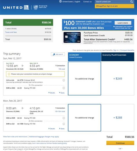 United Checked Bag Cost by 563 581 Cleveland To Ireland Into March R T Fly