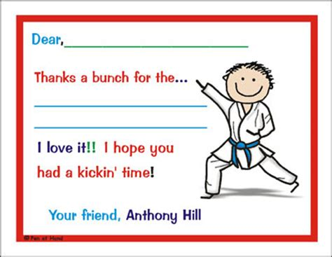 thank you letter to karate karate theme personalized invitations by the