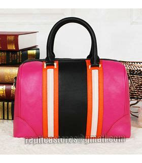 Givenchy Grade Ori givenchy lucrezia small boston bag fuchsia orange light pink black original leather replica