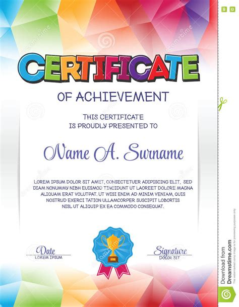 certificate template with colorful frame for children