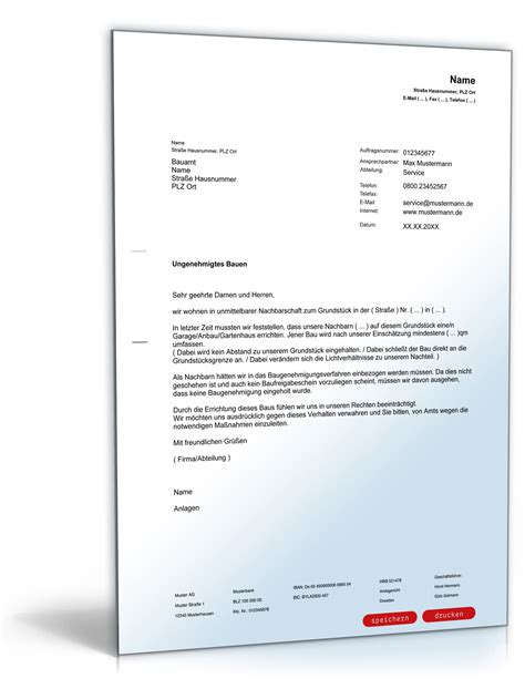 Musterbrief Beschwerde Auto Anzeige Einer Ungenehmigten Baut 228 Tigkeit Beim Bauamt