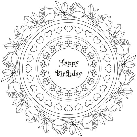 Birthday Mandala Coloring Pages | adult coloring page happy birthday mandala happy birthday 8