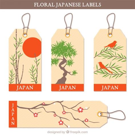 Etiketten Japan by Japanese Labels With Floral Themes Vector Free