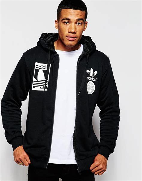 Jaket 3 Colour Adidas Black Hoodie Sweater Hitam Abu Merah lyst adidas originals zip up hoodie with fleece lining