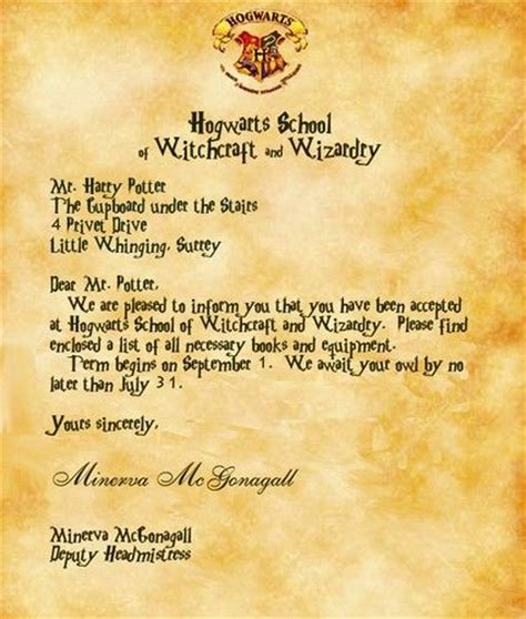 Acceptance Letter For Hogwarts School Of Witchcraft And Wizardry Hogwarts Acceptance Letter Generator Da Ara