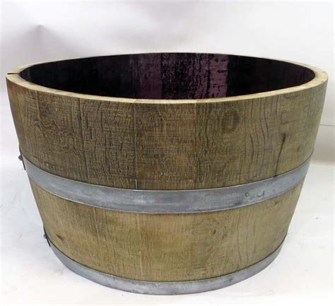 reclaimed half wine barrel planter wbp 26 26 quot w x 15 quot h ebay