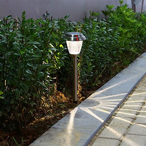 walkway solar lights voona solar led outdoor lights 8 pack stainless steel