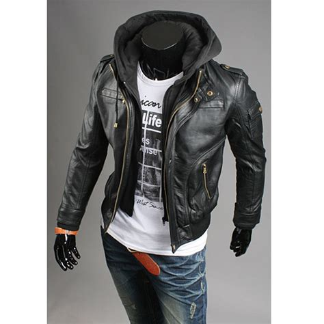 Jaket Hoodie Cewek Jaket Hoodies Outwear Hoodies mens leather jacket sale s leather jacket hoodie breast zipper