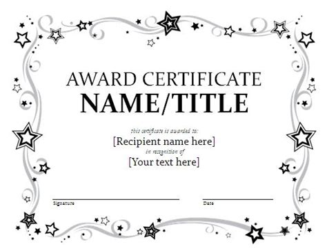 templates for award certificates free award certificate template format template