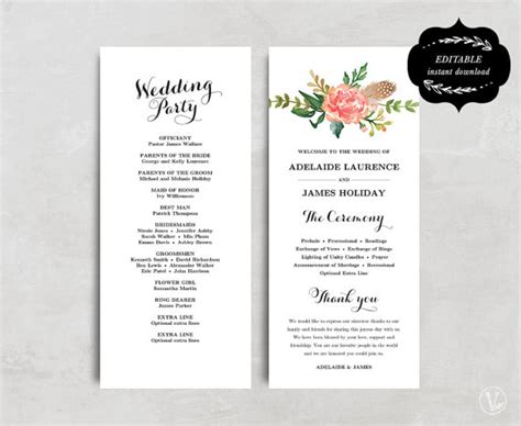 wedding program template printable wedding program template floral wedding program