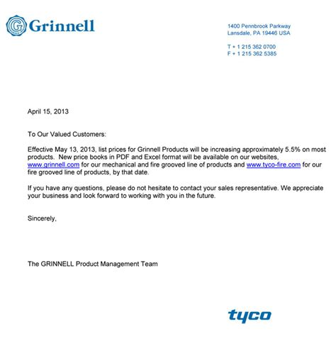 Sle Letter For Product Price Increase notice of price increase awipawip tyco products tyco