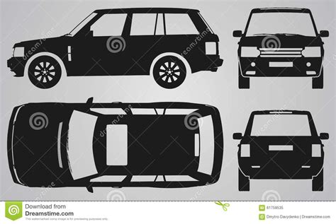 cartoon jeep side view front back top and side suv projection stock vector